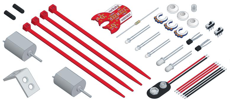 Die Bauteile für den varikabo Roboterbausatz
