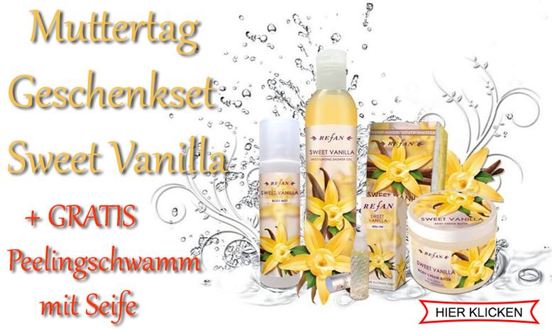 Muttertag Geschenkset Sweet Vanilla plus GRATIS Peelingschwamm mit Seife