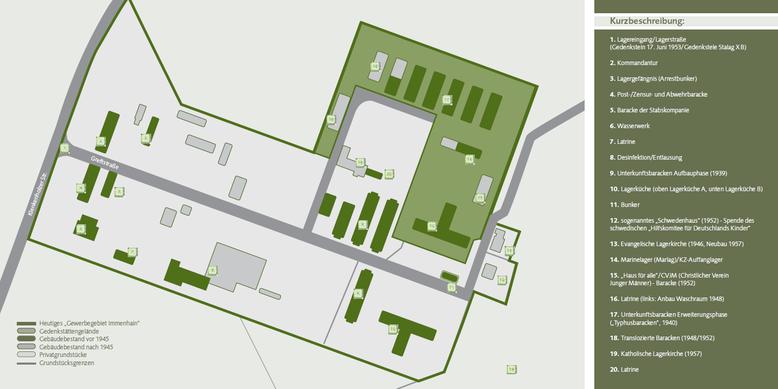 Lageplan des Geländes der Gedenkstätte Lager Sandbostel (grün eingefärbt). Grafik: A. Frumkin, Hamburg