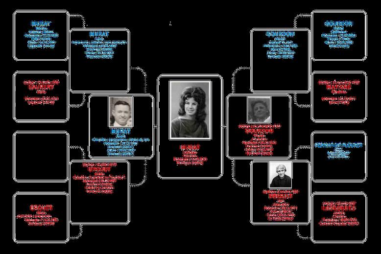 L'Arbre généalogique de Lucienne MURAT. Lucienne Murat, ses parents, grands-parents et arrière-grands-parents connus.
