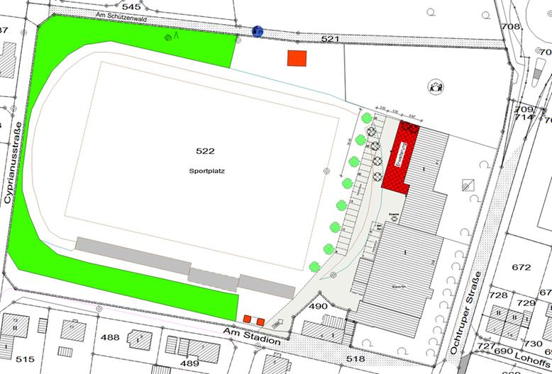 """Die verwaltungsseitig vorgeschlagene Zufahrt über die Straße """"Am Stadion"""" wurde von der SPD als zu gefährlich für alle Verkehrsteilnehmer abgelehnt."""