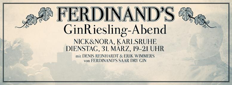 GinRiesling-Abend bei Nick & Nora - Spirituosen, Karlsruhe am 31.03.2015, 19-21 Uhr