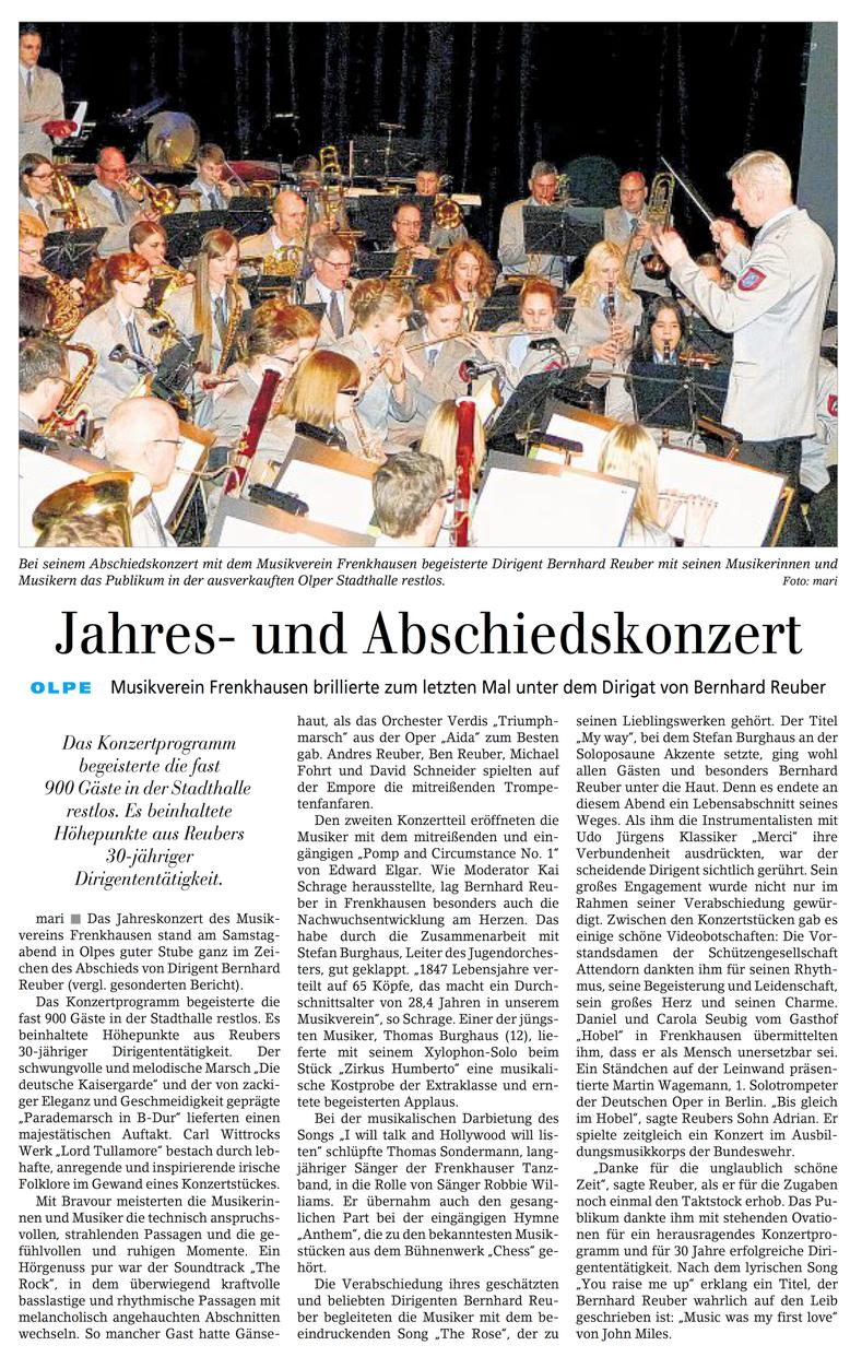 Siegener Zeitung, 09. März 2015