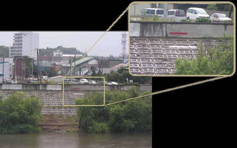 江別河川防災ステーション対岸にある千歳川の昭和50年(白)と昭和56年(赤)の水位跡