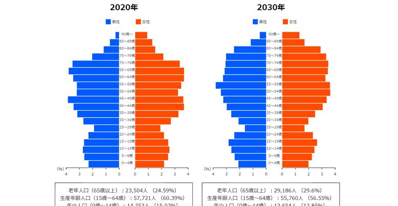 印西市の人口ピラミッド、2020年と2030年の比較