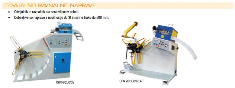 Odvijalno ravnalne naprave • Odvijalnik in ravnalnik sta sestavljena v celoto. • Dobavljive so naprave z nosilnostjo do 3t in širine traku do 500 mm.