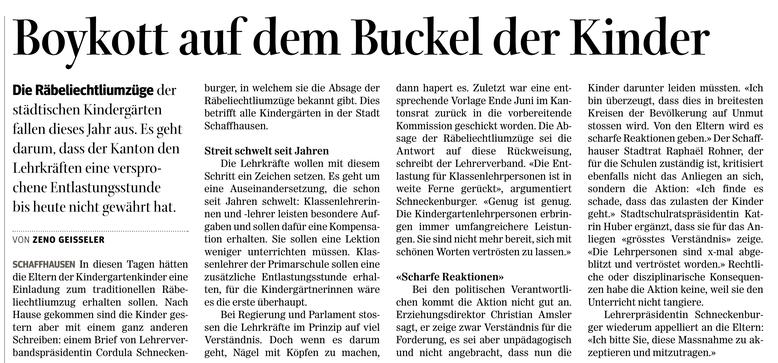 Quelle: Schaffhauser Nachrichten, 24.10.2017