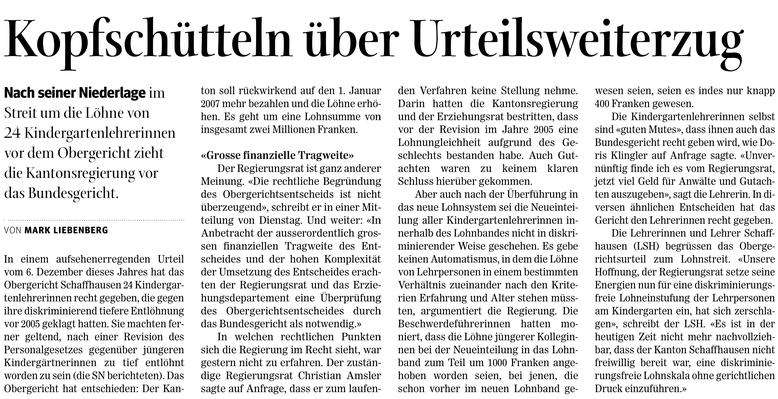 Quelle: Schaffhauser Nachrichten, 21. und 22. Dezember 2016