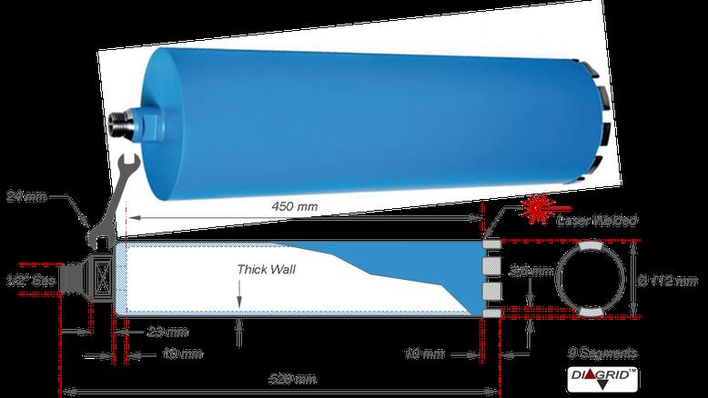 diamantboor met een boordiameter van 112 mm op een boorlengte van 450 mm met 9 segmenten totale lengte van 520 mm