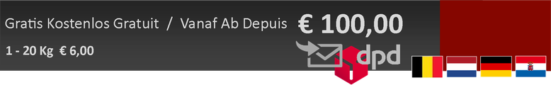 gratis levering vanaf 100 euro en slechts 6 euro onder de 100 euro voor Belgie Nederland Duitsland en Luxemburg
