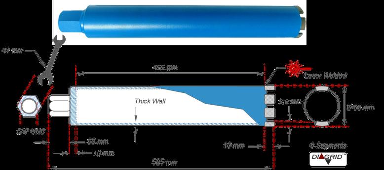kernboor met tussenmaat van 68 mm en een totale lengte van 525 mm. deze boormaat wordt veel gebruikt door elektriciens voor het doorboren van elektrische stopcontacten of schakelaars in betonnen wanden