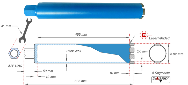 alle afmetingen van een dikwandige kernboor met een diameter van 92 mm en een totale lengte van 525 mm