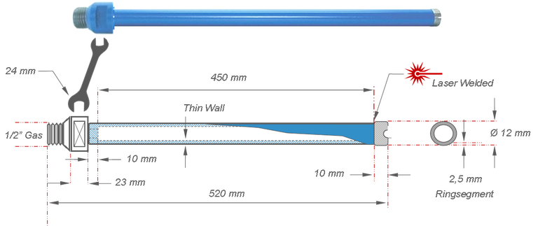 kernboor met een boor diameter van 12 mm en een maximale niet verlengbare boordiepte van 450 mm