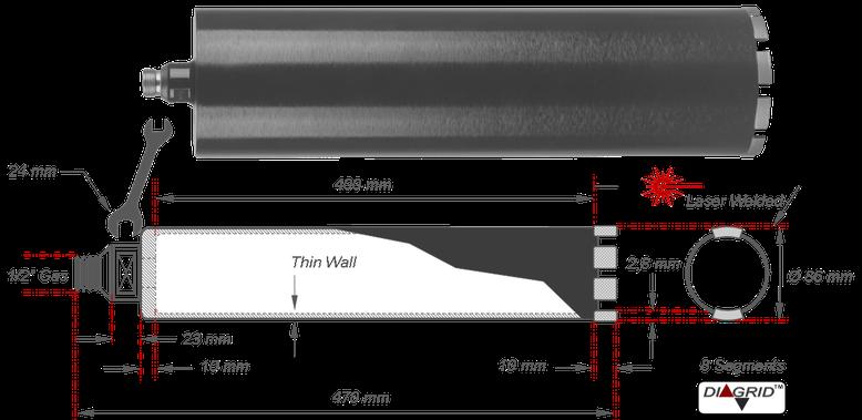 Prodito 86 mm doorsnede dunwandige kernboor met Diagrid boorsegmenten van slechts 2,8 mm dik voor het boren in beton met een Norton Clipper boormotor van het type NBM 131