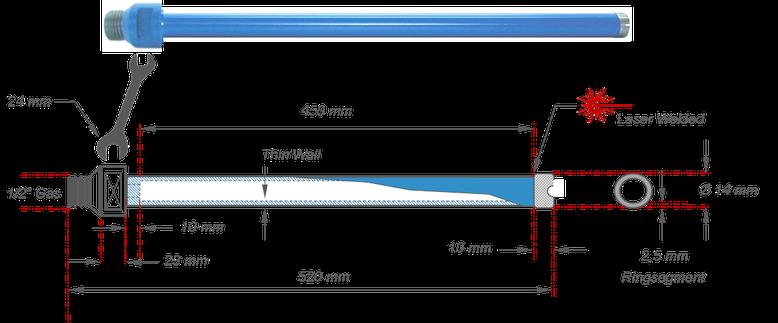 """kernboor met een boor diameter van 14 mm en een maximale niet verlengbare boordiepte van 450 mm te gebruiken op boormotoren met 1/2"""" aansluiting"""