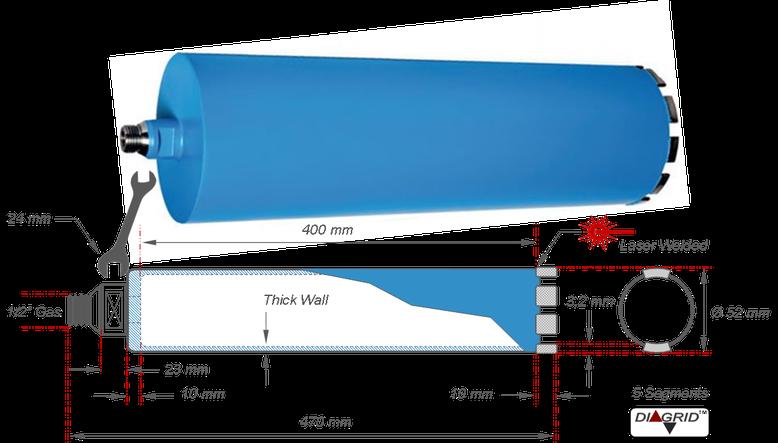 technische tekening met alle afmetingen van een diamantboor met een boor diameter van 52 millimeter en een nuttige boordiepte van 400 millimeter