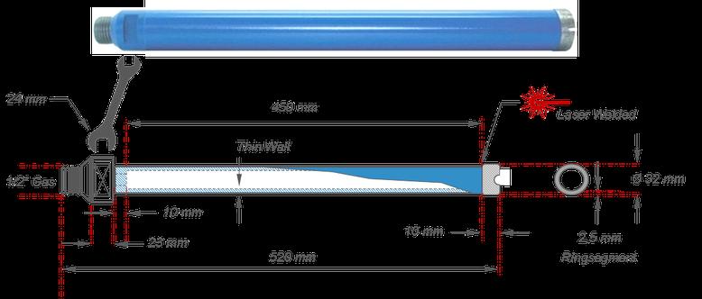 diamantboor met boormaat 32 mm en een nuttige boordiepte van 450 mm met een half duims aansluiting