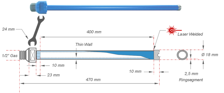 tekening van een kernboor met een diameter van 18 mm en een niet verlengbare boordiepte van 400 mm