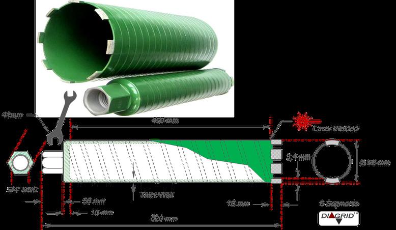 Diamant kernboor met een nuttige lengte van 450 millimeter en een boormaat van 96 millimeter voor het droog boren in gewapend beton hierdoor kan er op plaatsen waar er geen water gebruikt kan worden toch geboord worden in beton en zelfs gewapend beton