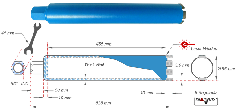 kernboor voor het boren van 96 mm doorvoeren in beton en gewapend beton