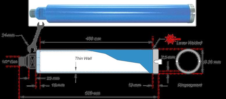 """diamant boorkroon diameter 36 mm nuttige lengte 450 mm opname half duim 1/2"""""""