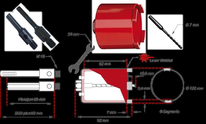 Technische tekening van een dozenboor 102 millimeter en alle toebehoren zoals Hexagon opname SDS+ opname Centerboor. Toepassing boren van inbouw elektriciteit stopcontacten en schakelaars in metselwerk
