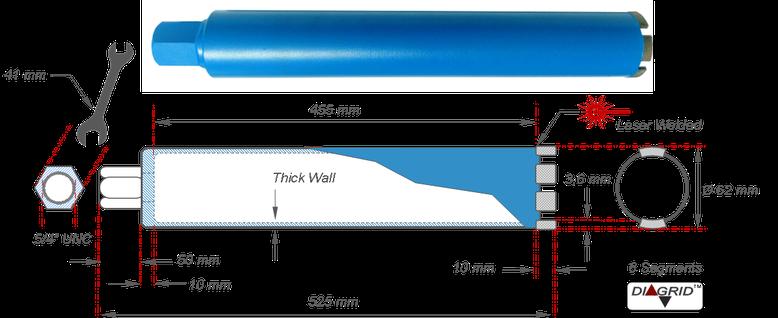Kernboor diamant doormeter 62 millimeter geschikt voor het boren in beton met Cardi Boormotor T1 MU 2000-EL-41