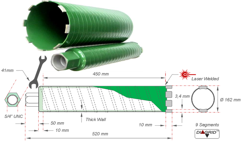 droogboor met een diameter van 162 millimeter voor boringen zonder water en zonder stof in beton en gewapend beton