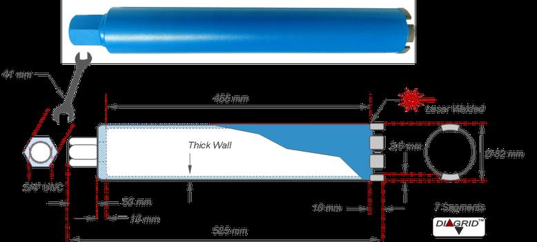 kernboor met diagrid segmenten ( inline diamond technology ) maten en gewichten op een technische tekening Deze kernboor kan gemonteerd worden op een Adamas boorstatief met een Quick-connect motorstoel