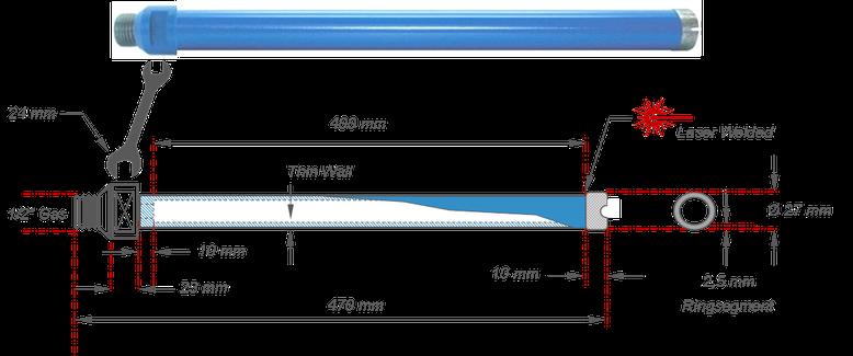 Dunwandige diamantboor voor natte boringen in beton met boormotoren van het merk Weka geschikt voor DK16 DK17 en DK18