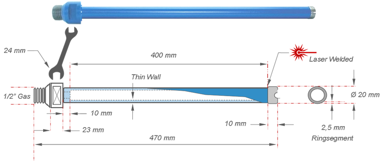 20 mm diamantboor / kernboor met dunwandig segment
