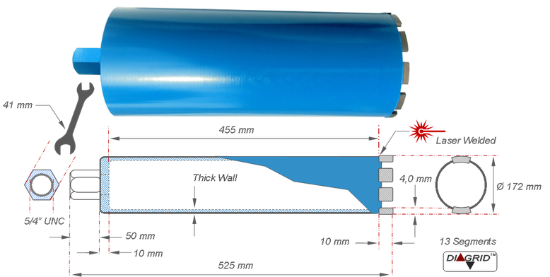 diamantboor of kernboor nuttige boordiepte 450 millimeter met buiten diameter van 172 millimeter met prodito 5/4 UNC naar Hilti DD-BL adaptor te gebruiken op Hilti DD 250 diamantboormachine