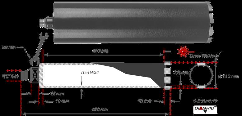 kernboor voor het boren met water in gewapend beton. de ideale machine voor deze boor is de Weka DK17 boormotor, deze kan zowel uit de hand als in een boorstatief gebruikt worden. Het betere  boorstatief hiervoor is de PKF 250