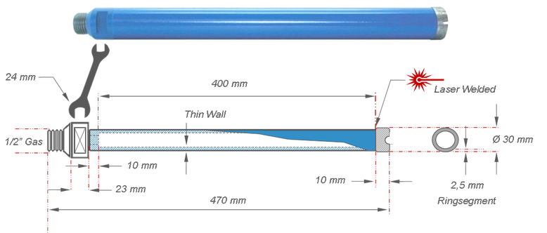 30 millimeter diamantboor met laser gelast ringsegment van 10 millimeter.