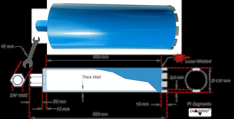 """technische tekening van een 5/4"""" UNC diamantboor met een buiten diameter van 132 mm"""
