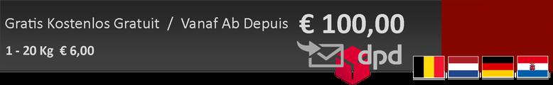 gratis geleverd vanaf 100 euro ex BTW