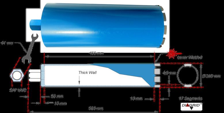 diamantboor of kernboor met een boormaat van 230 millimeter geschikt voor het boren in gewapend beton met een Weka DK32 diamantboormachine gemonteerd op een PKF 250 boorstatief