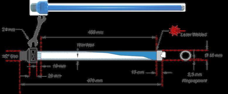 16 millimeter diamantboor met half duim gas aansluiting