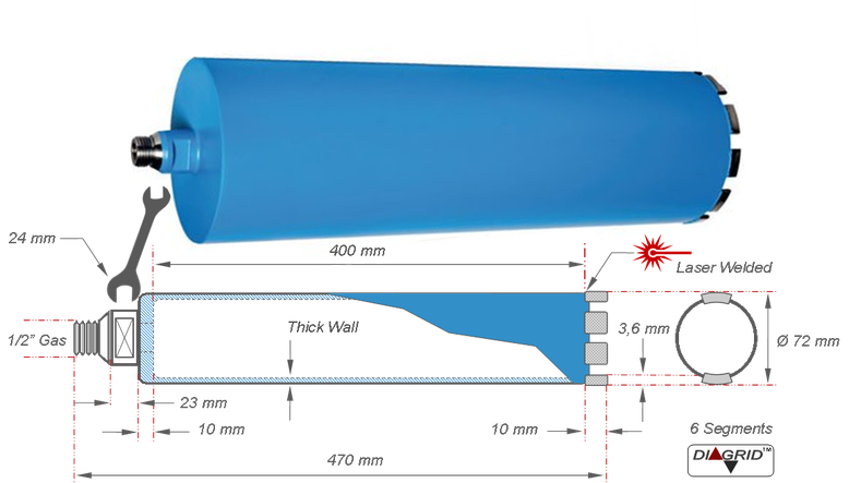 technische tekening en afmetingen van een kernboor met een doorsnede van 72 millimeter voor het nat boren in gewapend beton