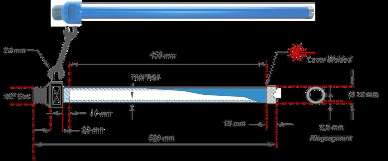 kernboor met een boor diameter van 18 mm en een maximale niet verlengbare boordiepte van 450 mm met een laser gelast ringsegment voor het boren in algemene bouwmaterialen