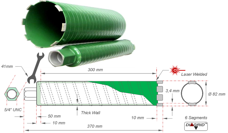 82 mm droogboor of droge boor voor boringen van 82 mm in gewapend beton geschikt voor interdiamant droogboormachine