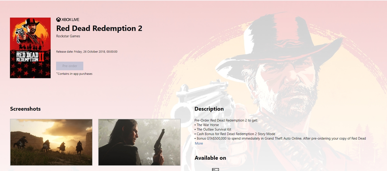 Red Dead Redemption 2 Vorbesteller Boni Xbox One Microsoft Store