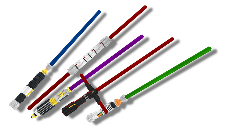 The Five different Lightsabers.
