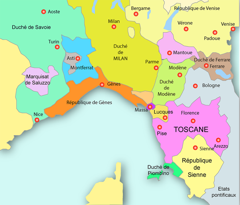 Nord de l'Italie vers 1454 - Dessin GM 24/06/2016