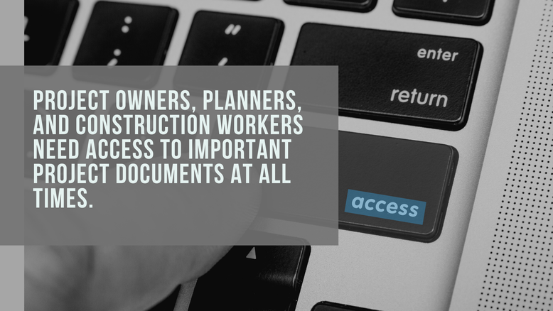 Image of a notebook keyboard with text overlaid: Project owners, planners and construction workers need access to important project documents at all times