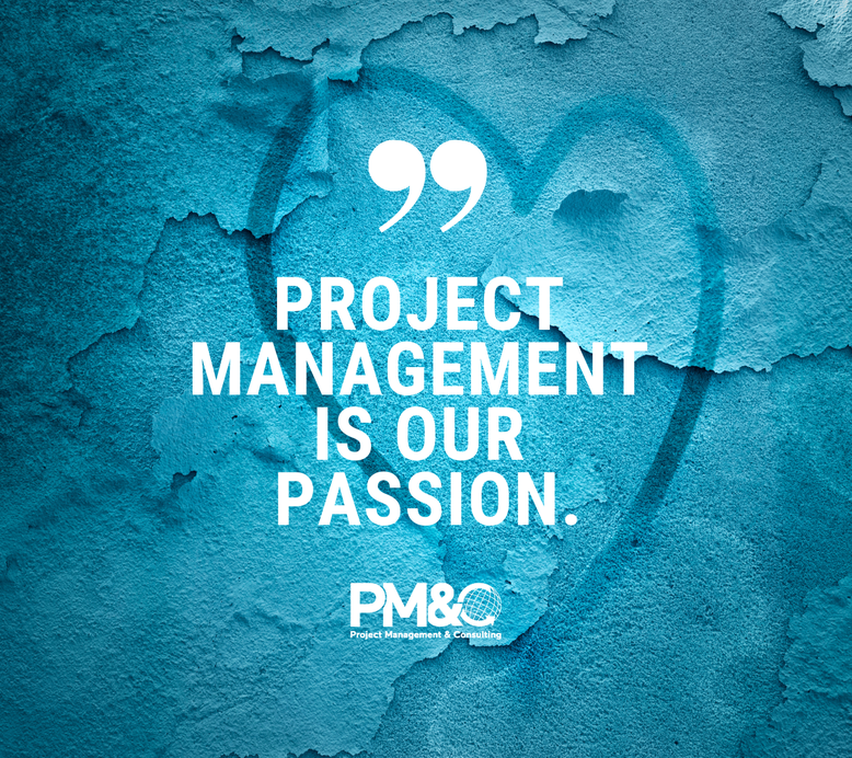 Image with heart and logo: Project management is our passion