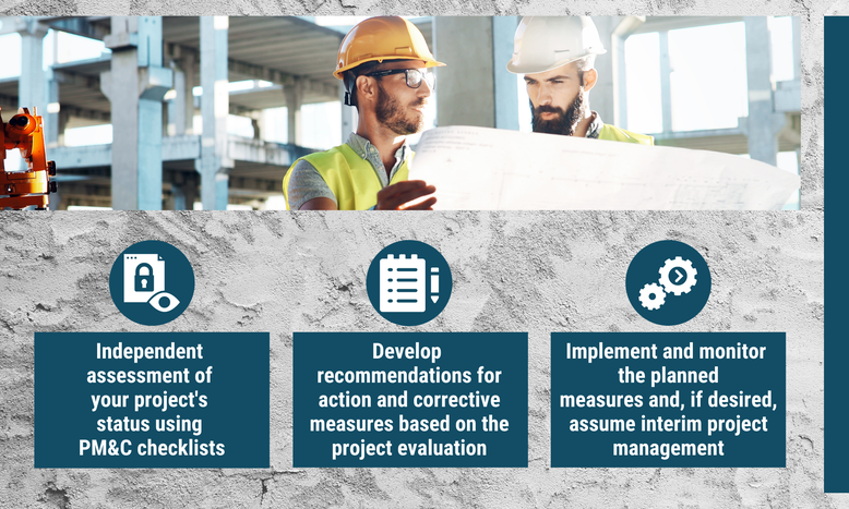 Concrete background, two people reading a plan. The text overlay: Independent assessment of your project status using checklists. Develop recommendations for action and corrective measures. Implement and monitor the planned measures.