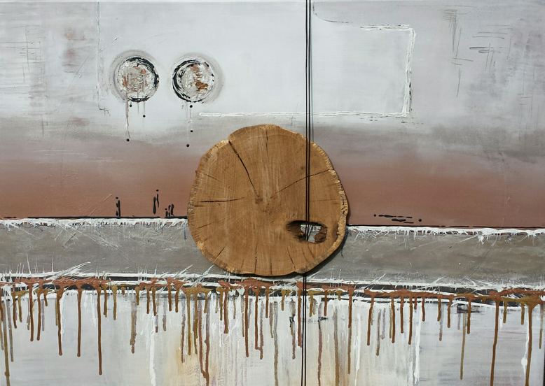 """Natur trifft Kunst 1"" - 70 x 100cm -  Acryl, Eichenholz (Eichenholzmanufaktur Hugo Kämpf ), Leder auf Leinwand - Preis auf Anfrage -"