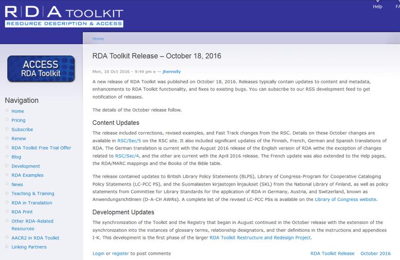 Info zum Release vom Oktober 2016 auf der Website des RDA Toolkit
