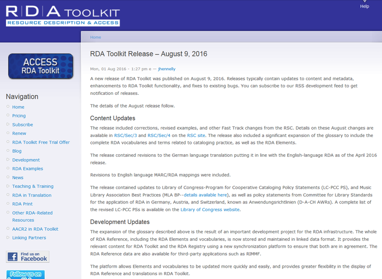 Infos zum August-Release auf der Website des RDA Toolkit